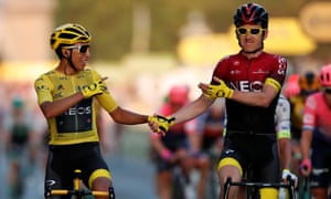 Geraint Thomas (right) finished second to teammate Egan Bernal in the general classification of this year's Tour de France.