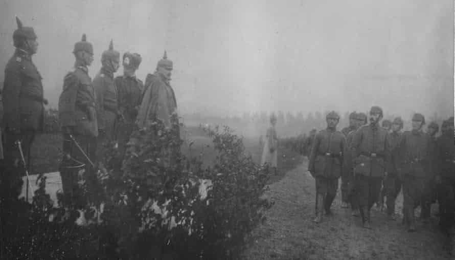Kaiser Wilhelm II and his son Crown Prince Wilhelm at a field parade during the Battle of the Somme ,18 October 1916.