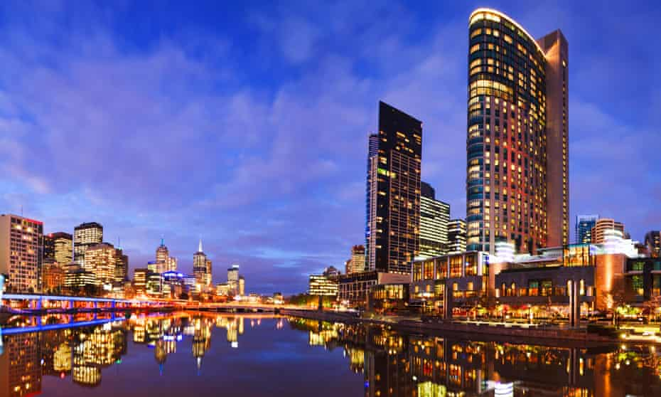 Melbourne skyline at twilight, reflecting in the Yarra River