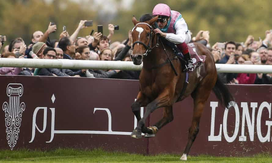 Frankie Dettori rides Enable to victory in the Prix de l'Arc de Triomphe at Chantilly on Sunday.