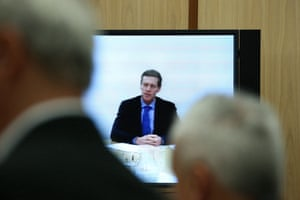 The Chief Technology Officer of NBN Mr Dennis Steiger gives evidence via videoconference before the select committee on the National Broadband Network in Parliament House Canberra this morning, Tuesday 15th March 2016.