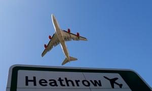 A plane leaves Heathrow.