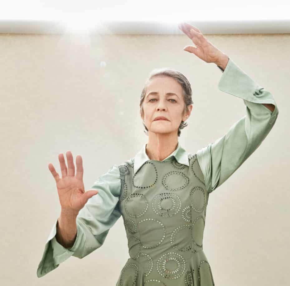 Charlotte Rampling dressed up for fashion shoot, March 2021