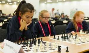 Pupils at a chess tournament