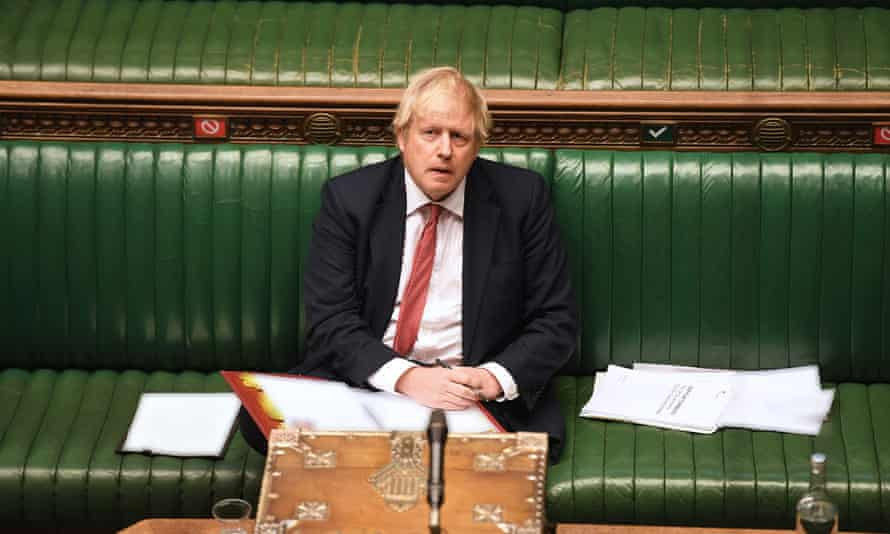 Boris Johnson in the House of Commons in London, 11 May 2020.