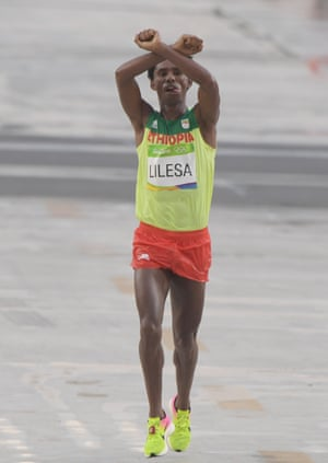 Feyisa Lilesa as he finished second in the marathon in Rio.