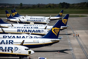 Grounded Ryanair passenger aircraft at Stansted airport