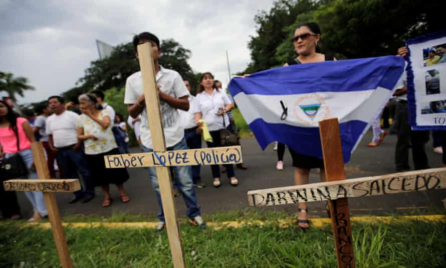 Crosses are placed at a memorial for victims killed in recent protests against Nicaraguan President Daniel Ortega's government.