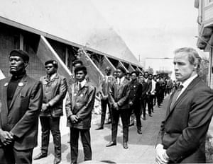 Marlon Brando attending the Black Panther Party rally.