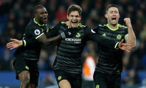 Marcos Alonso, here celebrating his goal against Leicester with Victor Moses, left, and Gary Cahill, right, slotted in seamlessly at left wing-back.