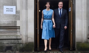 Prime Minister David Cameron and his wife Samantha vote in the EU Referendum at the Central Methodist Hall in London