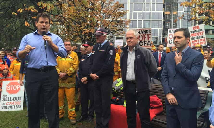 Malcolm Turnbull attends a CFA rally in Melbourne