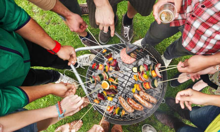 People at a barbecue