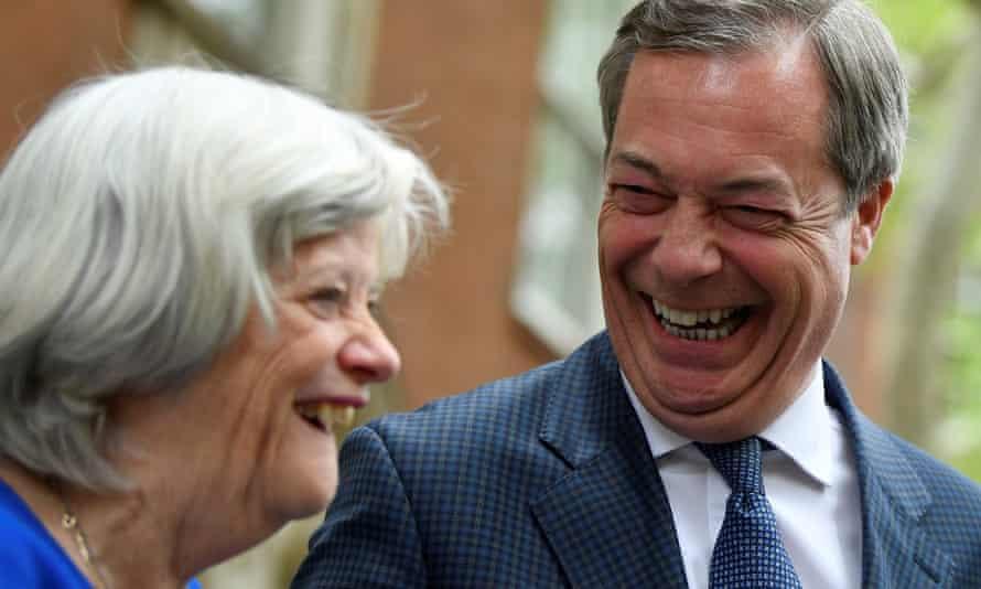 Ann Widdecombe and Nigel Farage in April