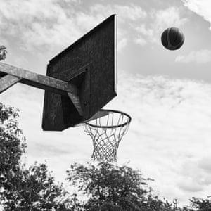 A ball reaching the basket