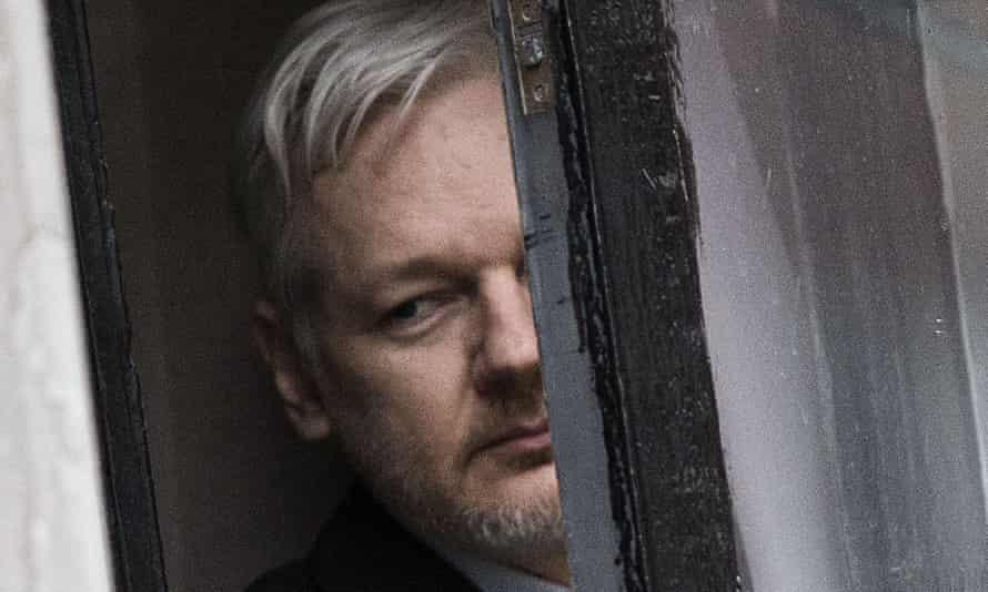 Julian Assange in the Ecuadorian embassy in London.