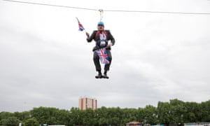 Mayor of London Boris Johnson after he gets stuck on a zipwire during BT London Live in Victoria Park in August 2012.