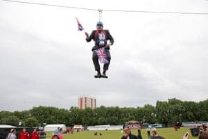 Boris Johnson stuck on a zipline during the London Olympics