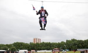 Johnson dangles above Victoria Park during BT London Live.