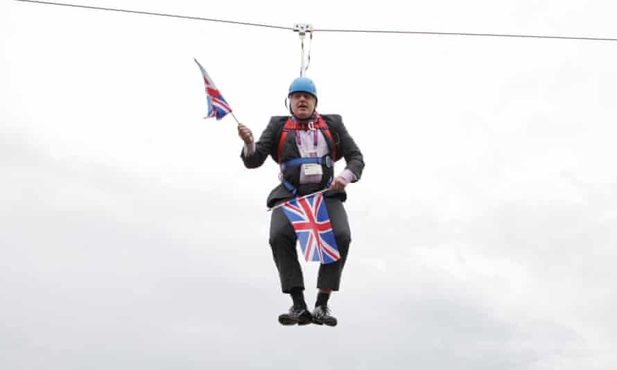 Boris Johnson stuck on a zip-wire