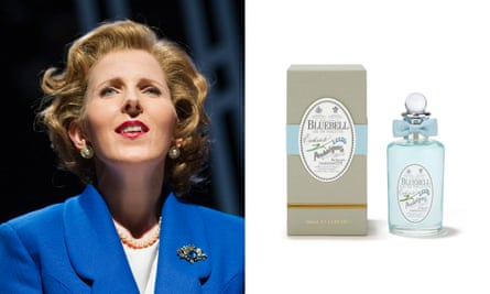 Lost innocence … Fenella Woolgar as Margaret Thatcher in Handbagged, 2013; and the PM's favourite, Bluebell.