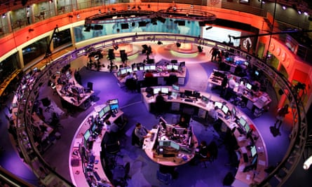 Newsroom at the headquarters of the Qatar-based Al-Jazeera English-language channel in Doha.