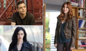 Rami Malek as Elliott Alderson from Mr Robot, Aya Cash as Gretchen Cutler in You're the Worst and Krysten Ritter as Jessica Jones