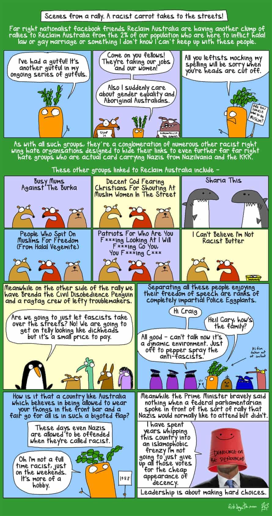 NotNeoNazis - Reclaim Australia rallies, when a racist carrot met Brenda the Civil Disobedience Penguin