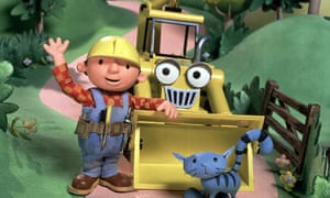 Bob the Builder in the traditional yellow hard hat.