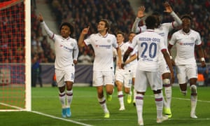 Willian of Chelsea (left) celebrates after restoring the visitors' lead.