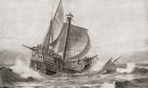Drawing of the Santa María running around