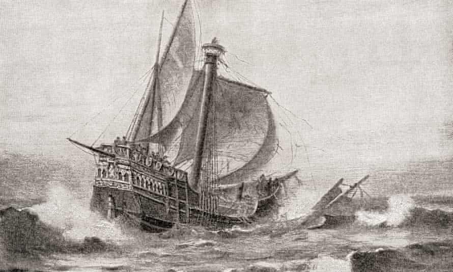 Drawing of the Santa María running around