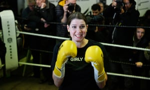 Jo Swinson on a campaign visit to the Total Boxer gym in north London.