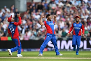 Gulbadin Naib celebrates after taking the wicket of Jonny Bairstow for 90.