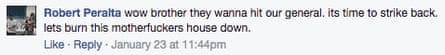Robert Peralta's Facebook post.