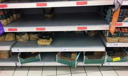 Stocks of pasta run low at a Sainsbury's supermarket in Muswell Hill on Saturday afteroon.