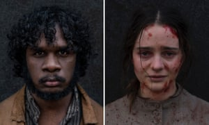 Baykali Ganambarr as Billy and Aisling Franciosi as Clare in Jennifer Kent's 2019 film The Nightingale