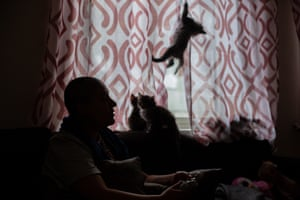 Wael at home with cats