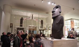 The Hoa Hakananai'a statue from Rapa Nui, or Easter Island, on display at the British Museum in London.