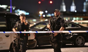 Armed police on London Bridge on Saturday night.