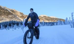 Kevin Breitenbach takes his bike out in Fairbanks, Alaska