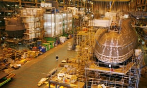 Astute class nuclear submarine being built in 2007 in the Devonshire Dock hall at the BAE systems facility in Barrow-in-Furness