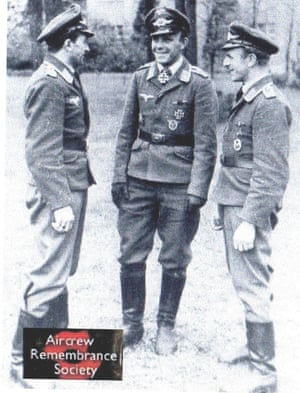 The two men on the right were in the Luftwaffe aircrew that shot Jim's plane down in 1943 – they were killed themselves a few months later.