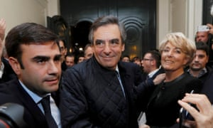 François Fillon arrives at his campaign headquarters after partial results on Sunday in Paris.