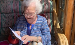 Eve celebrating her 90th birthday in May. Her family has been allowed to see her once a week for half an hour.