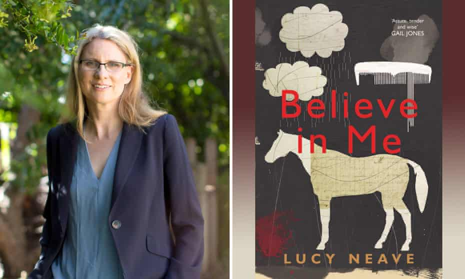 Lucy Neave and the cover of her new novel, Believe In Me