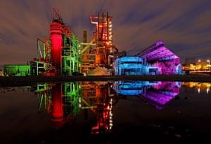 Dortmund, Germany, The former Phoenix West blast furnace is illuminated by light artist Thorsten Pfister