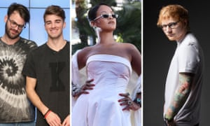 Chamberlains of chill ... from left, The Chainsmokers, Rihanna and Ed Sheeran.