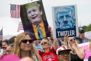 Demonstrators take part in the March for Truth rally on the National Mall in Washington, on 3 June 2017.