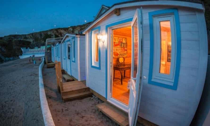 Cabins, Tolcarne beach, Cornwall